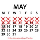 Simple vector calendar. May 15th. Commemorate the International Day of Families. EPS file available. see more images related stock illustration