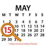 Simple vector calendar. May 15th. Commemorate the International Day of Families. EPS file available. see more images related royalty free illustration