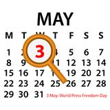 Simple vector calendar. May 3th. Commemorate the World Press Freedom Day. EPS file available. see more images related Stock Photography