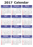 Simple vector calendar 2017. 2017 calendar. Simple vector calendar for year 2017 Royalty Free Stock Photos