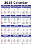 Simple vector calendar 2018 Royalty Free Stock Images