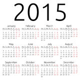 Simple vector calendar 2015. Simple 2015 year calendar, EPS 10 vector Royalty Free Stock Photo
