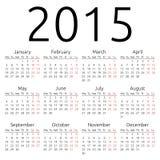Simple vector calendar 2015 Royalty Free Stock Photo