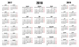 Simple vector calendars for 2018 and 2017 2019 years. Monday first, red sunday Royalty Free Stock Photos