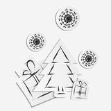 Simple vector christmas background with paper tree, gifts and snowflakes Stock Image