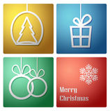 Simple vector christmas decoration card -vector. Simple vector christmas decoration card with present, baubles and tree-vector Stock Photo
