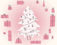 Simple Vector Christmas Gift. New Year Card. Illustration Stock Images