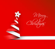 Simple vector christmas tree made from paper stripe Royalty Free Stock Photos