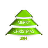 Simple vector christmas tree made from paper stripes ribbons Stock Photos