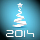 Simple vector christmas tree made from white paper stripe Royalty Free Stock Photography