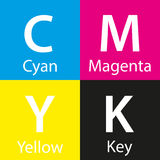Simple vector cmyk color sample with color name Stock Photos