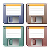 Simple, vector floppy disk icon. Four color variations. Isolated on a white background Stock Images