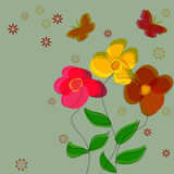 Simple flower vector background with butterflies. Royalty Free Stock Photography