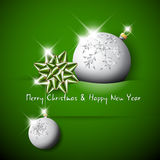 Simple vector green christmas card. With silver baubles and red bow vector illustration