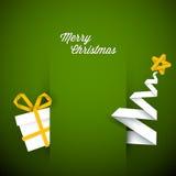Simple vector green christmas card illustration Stock Photo