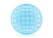 Simple vector grid earth globe icon. Blue 3D vector lines and grid world globe icon isolated on white background Stock Photos