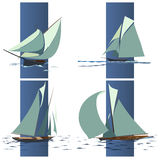 Simple vector group of ship with sails. Stock Photo