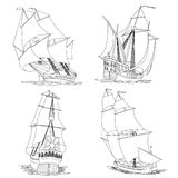 Simple vector group of ship with sails. Stock Photos