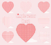 Simple vector heart with different universal patterns on a pink background. Holiday decorations Royalty Free Stock Photography
