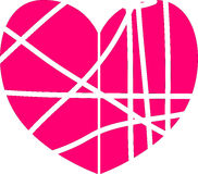 Simple vector heart. Simple vector pink heart with stripes symbol royalty free illustration