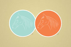 Simple vector horse icons. Male female avatar. Vector illustration Stock Photos