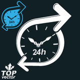 Simple vector 24 hours detailed clock monochrome illustration, i. Nvert version included. Around-the-clock dimensional stylized symbol. Twenty-four hours a day Stock Images