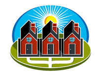 Simple vector houses with pathway leading to them. Family harmon Royalty Free Stock Images