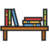 Simple Vector Icon of a bookshelf in flat style. Pixel perfect. Basic education element. Royalty Free Stock Photography