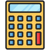 Simple Vector Icon of a classic calculator in flat style. Pixel perfect. Basic education element. School and office tool. Back to college Royalty Free Stock Photography