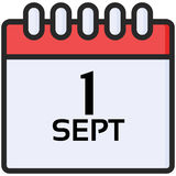 Simple Vector Icon of a classic calender for first of september in flat style. Pixel perfect. Basic education element. School theme. Back to college Royalty Free Stock Images