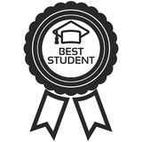 Simple Vector Icon of a classic encouragement badge in line art style. Pixel perfect. Basic education element. Stock Photos