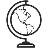 Simple Vector Icon of a classic school globe in line art style. Pixel perfect. Basic education element. Stock Photos