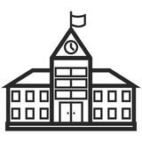 Simple Vector Icon of a school building in line art style. Pixel perfect. Basic education element. Royalty Free Stock Image