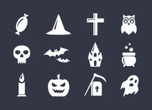 Simple vector icons set for Halloween decoration Stock Photo