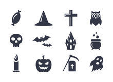Simple vector icons set for Halloween Royalty Free Stock Image