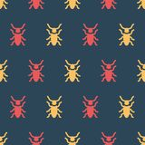 Simple vector illustration with ability to change. Color pattern with beetles. Color pattern with beetles. Simple vector illustration with ability to change stock illustration
