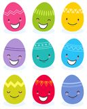 Simple vector illustration of colorful flat design easter eggs, cartoon characters with funny faces. Isolated on white background Stock Image