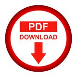 Vector Pdf file download button red color icon. Simple vector illustration of Pdf file download button red color icon on white background Royalty Free Stock Images