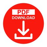 Vector Pdf file download button red color icon. Simple vector illustration of Pdf file download button red color icon on white background vector illustration