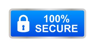 100% secure button. Simple vector illustration of Safe secure padlock blue web button on white background royalty free illustration