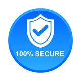 100% secure button. Simple vector illustration of Safe secure padlock blue web round button on white background stock illustration