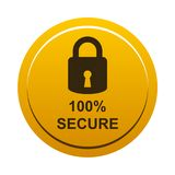 100% secure button. Simple vector illustration of Safe secure padlock gold yellow web round button on white background stock illustration