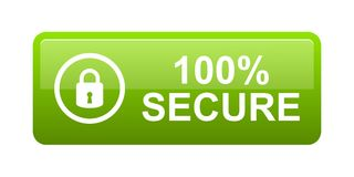 100% secure button. Simple vector illustration of Safe secure padlock green web button on white background Royalty Free Illustration