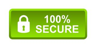 100% secure button. Simple vector illustration of Safe secure padlock green web button on white background Stock Illustration