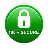 100% secure button. Simple vector illustration of Safe secure padlock green web round button on white background vector illustration