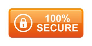 100% secure button. Simple vector illustration of Safe secure padlock orange web button on white background royalty free illustration