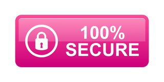 100% secure button. Simple vector illustration of Safe secure padlock pink web button on white background stock illustration
