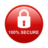 100% secure button. Simple vector illustration of Safe secure padlock red web round button on white background royalty free illustration