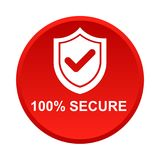 100% secure button. Simple vector illustration of Safe secure padlock red web round button on white background stock illustration