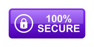 100% secure button. Simple vector illustration of Safe secure padlock violet web button on white background vector illustration